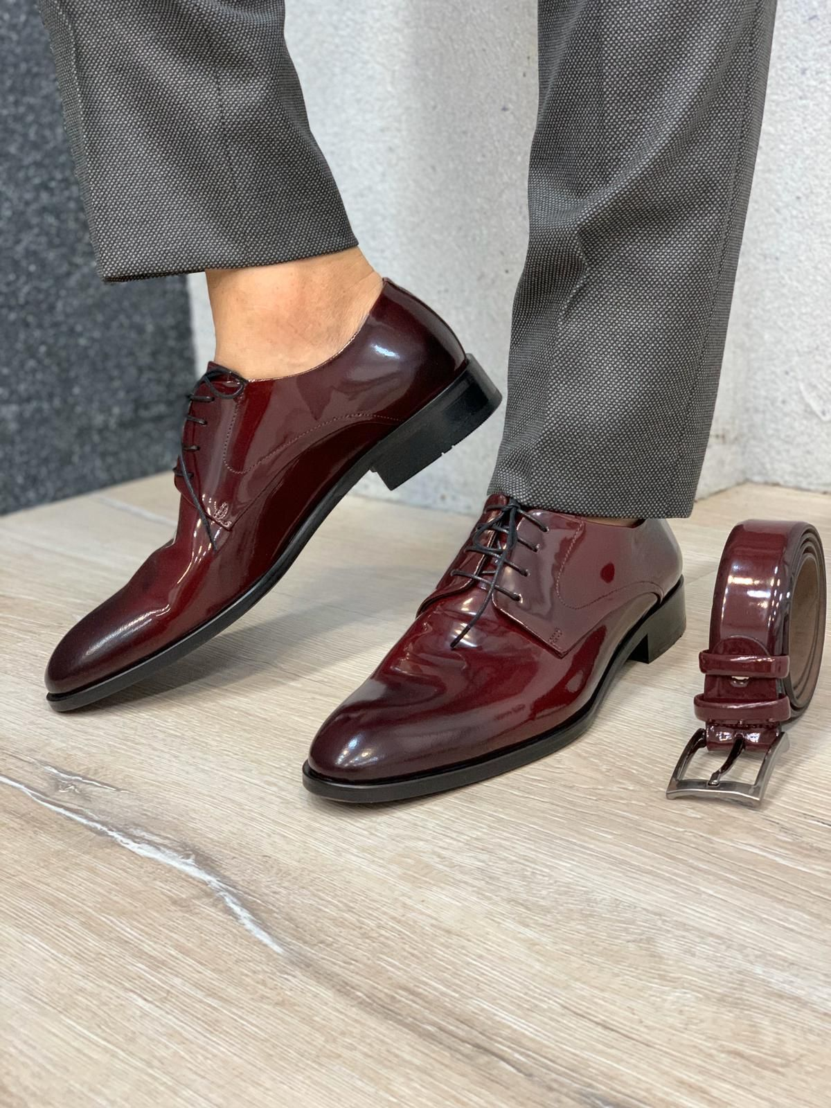 Patent Brugundy Leather Shoes – Belt