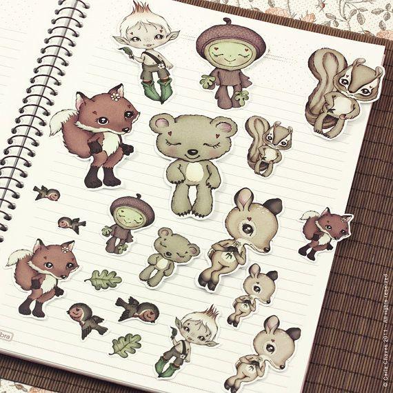 Set of cute woodland critter stickers di ribonitachocolat su Etsy, $6.00