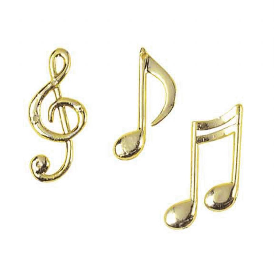 Assorted Gold Colour Plastic Musical Notes X3 Music Cake