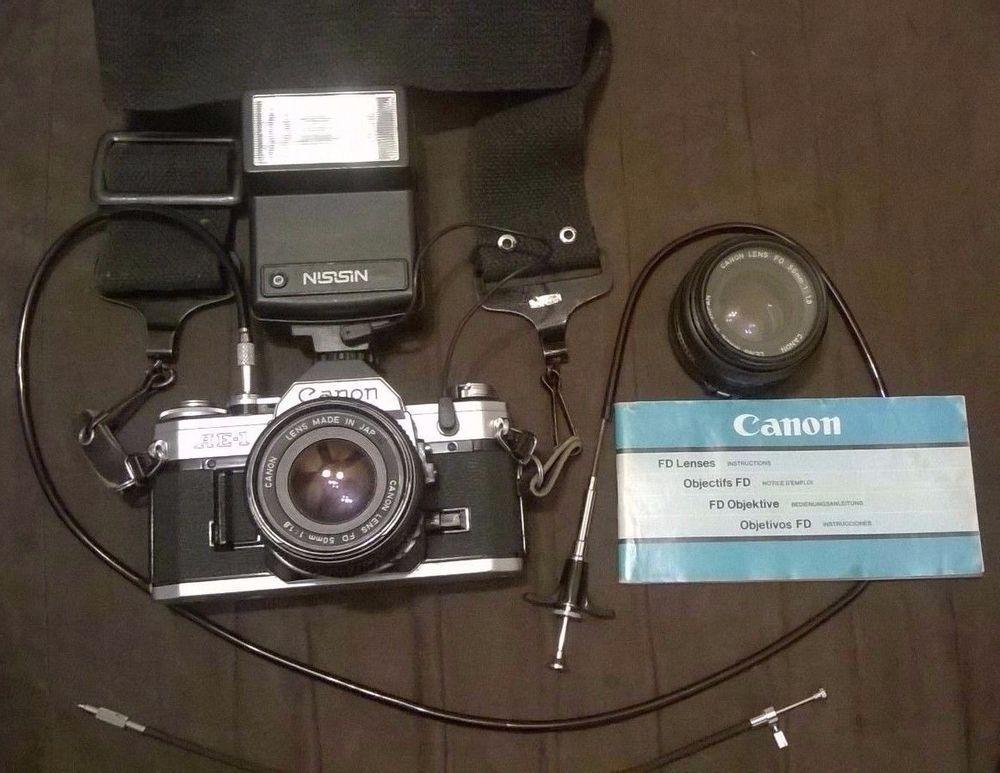 Canon Ae 1 Camera 2 Fd 50mm 1 Haze Lens Nissin 26t 2 Flash Shutter Cable Slr Film Camera Film Camera Canon Ae 1