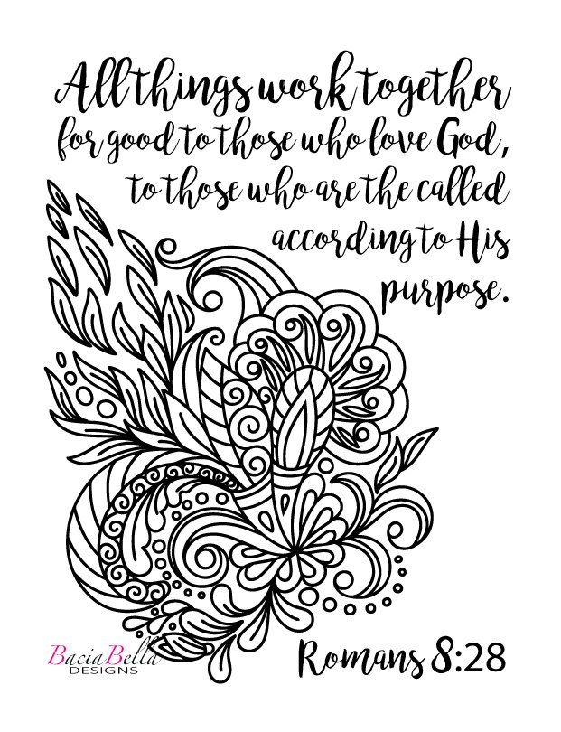 Zen Tangle Swirl-Romans 8:28-Adult Coloring Page-All Things Work ...