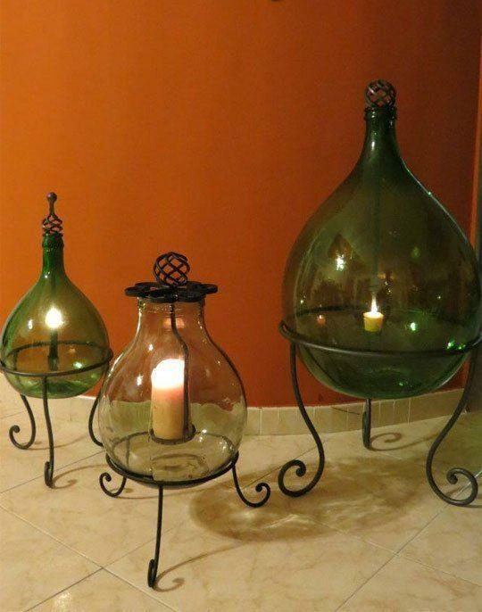 Lanterne fatte con damigiane verdi fai da te pinterest for Decorazione lanterne natale