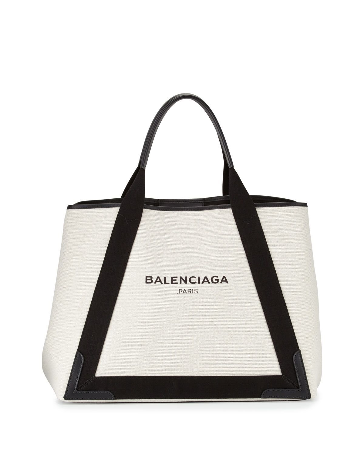 971886c5ed Cabas Medium Canvas Logo Tote Bag, Black/Natural, Women's - Balenciaga
