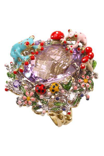 8b46a7cb576 5.30ctw Amethyst   .14ctw Diamond Frog Ring Accessoires Bijoux