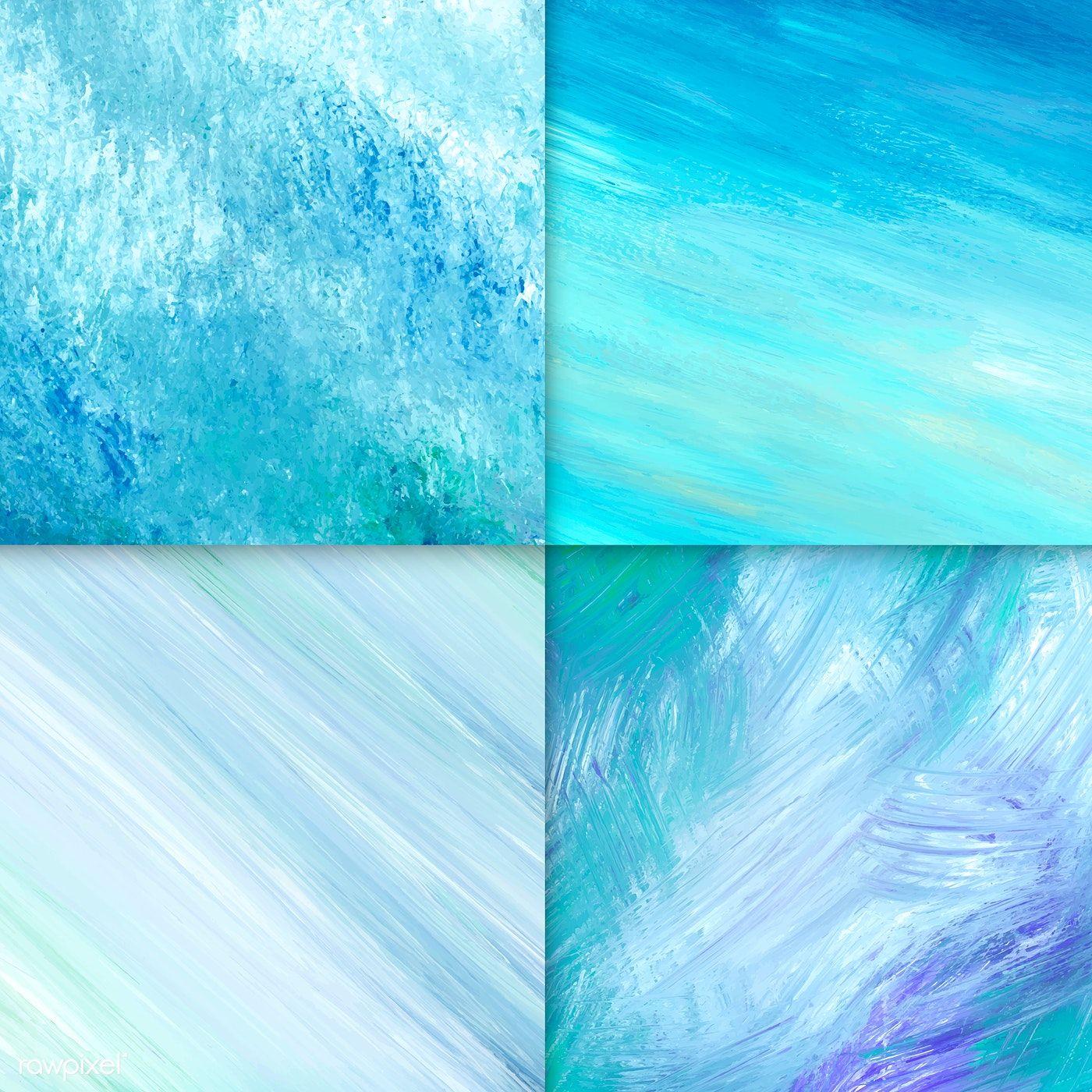 Teal acrylic brush stroke textured background vectors set