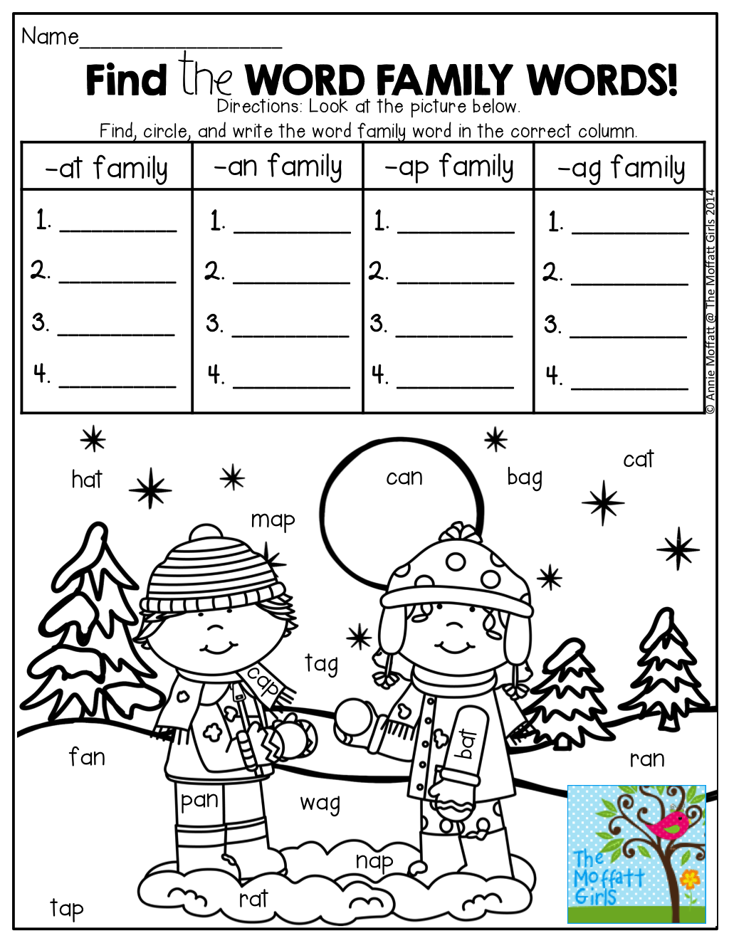 Find The Word Family Words In The Picture Write Them Under The Correct Column Fun Fun T Word Family Worksheets Kindergarten Literacy Kindergarten Reading