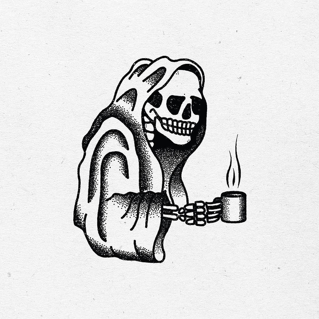 Death and coffee pinteres for Minimalist house tattoo