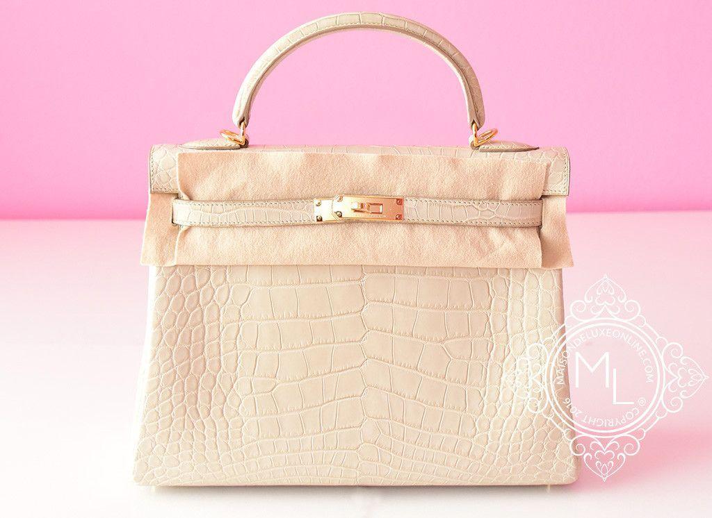 a6869766b35 Hermes Beton White GHW Matte Crocodile Kelly 32 Handbag - New