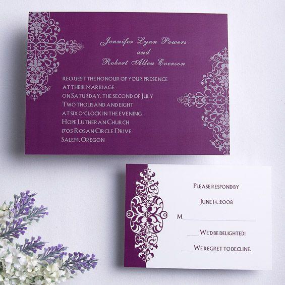 Pin By Anisha On Wedding Invites Simple In 2019: Purple Fancy Wedding Invitation ING102 [ING102]