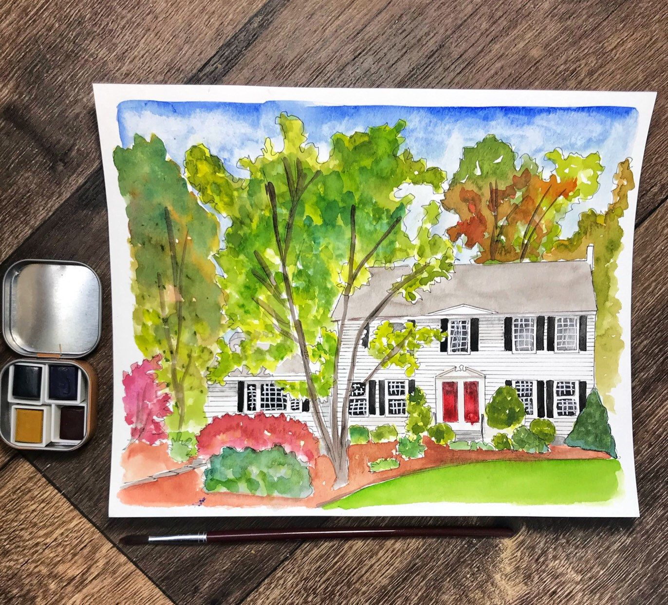Watercolor House Painting Watercolor House Portrait Watercolor