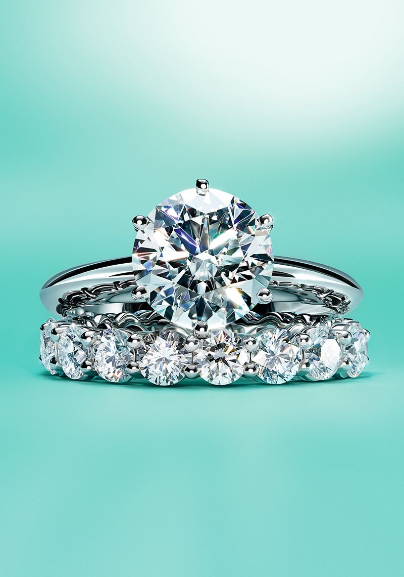The Tiffany Setting Engagement Ring And Embrace Wedding Band In Platinum