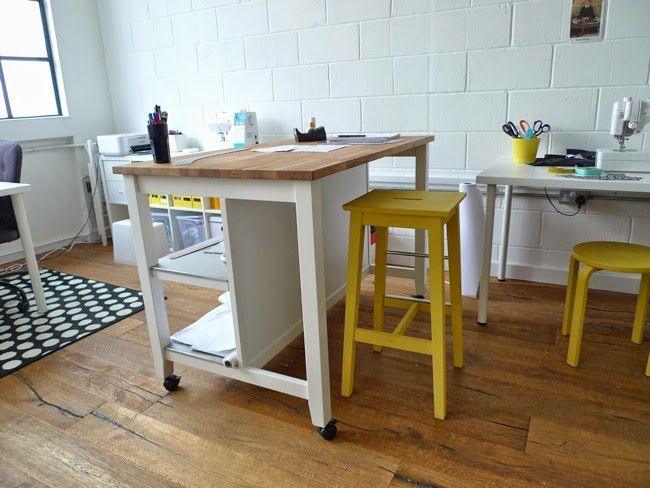 Cutting Table On Casters Stenstorp Kitchen Island Ikea Sewing Sewing Room Ideas