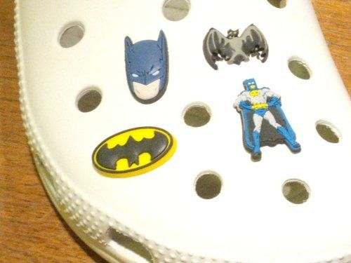 Batman Shoe Charms 4 pcs Set - Jibbitz Croc Style by Hermes. $7.99. Great Gift or Give as Party Favors. Fun to Collect and Mix 'n Match. Set includes 4 shoe charms. Everyone knows Batman! And now you can put your favorite characters on the croc style shoes. This hard to find set comes with 4 charms. Collect them all, Mix 'n Match, trade your friends. Other Series Characters include: Super Mario Brothers, Star Wars, Kung Fu Panda, Sesame Street, Thomas the Train, Dora...