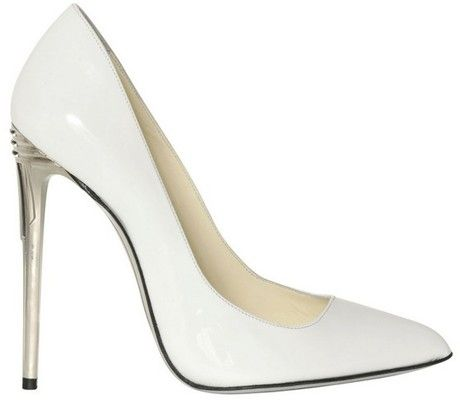 Balmain 100mm White Patent Leather Pumps in White