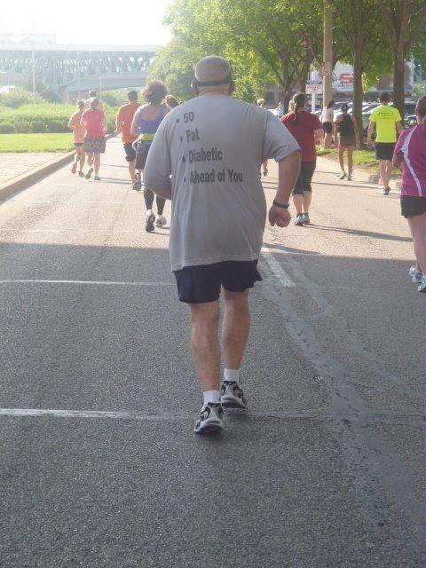 Fat old man with diabetic is ahead of you