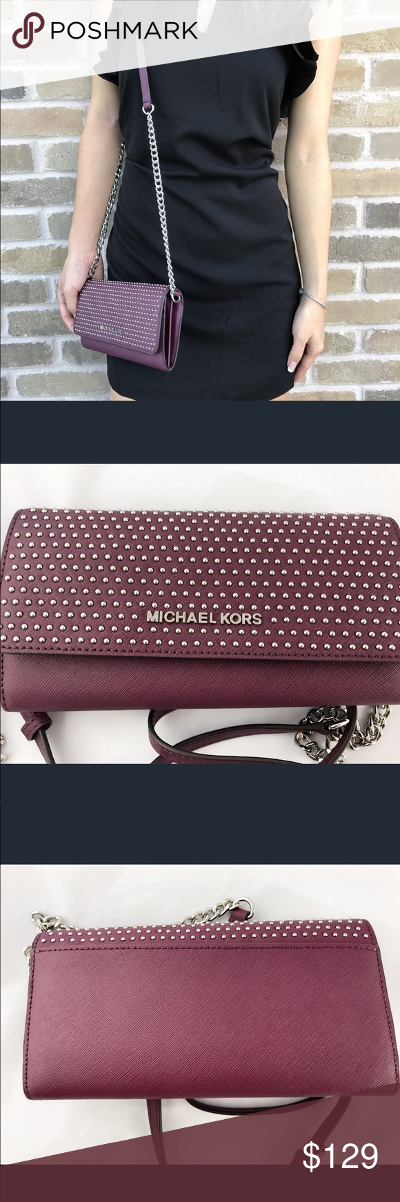 347bfff5e504 NWT Michael Kors Wallet on Chain Crossbody Plum Michael Kors Micro Studded  Wallet on Chain Crossbody