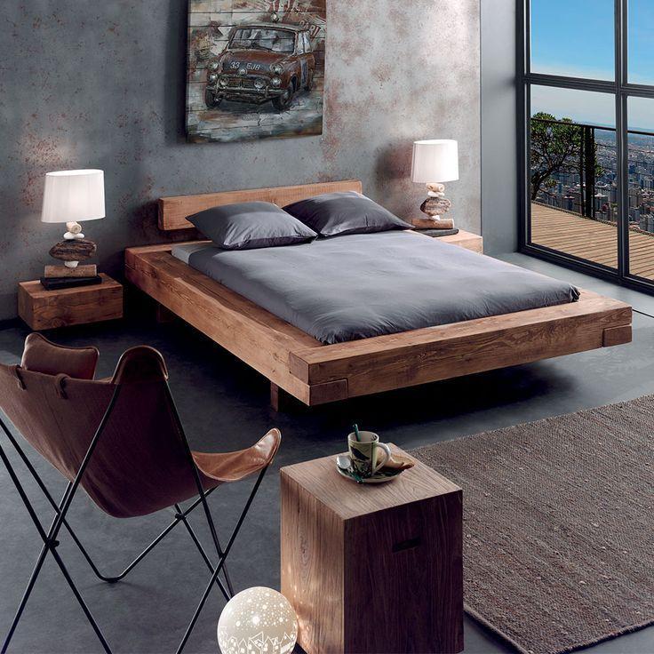 Le grand lit poutre en pin massif aux lignes epurees 2 #rusticbedroomfurniture