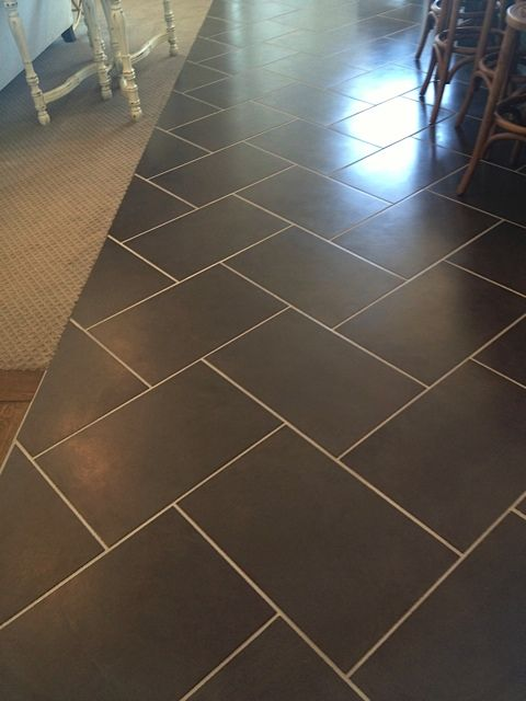 12 x 24 charcoal tile in herringbone pattern with light grout finishes floors walls. Black Bedroom Furniture Sets. Home Design Ideas