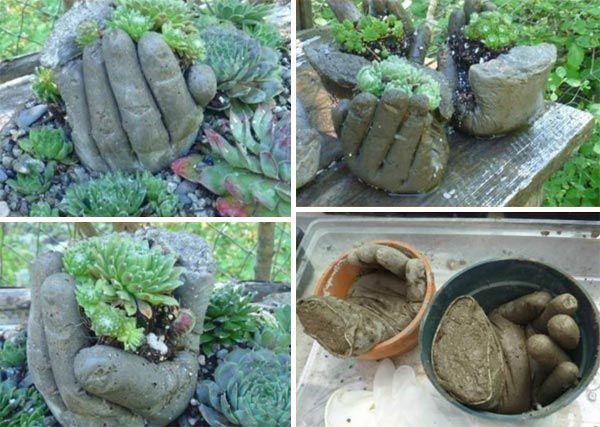 lovely concrete hand planters | macetas, guantes y jardinería