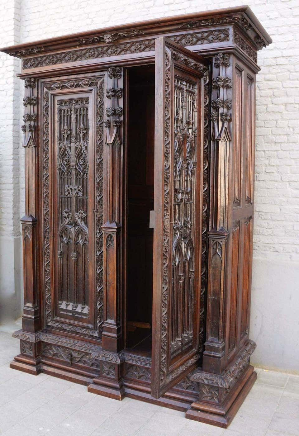 For Sale On 1stdibs A Magnificent Gothic Revival Oak Armoire In The Spirit Of Violett Le Duc Fran Gothic Bedroom Furniture Gothic Furniture Ornate Furniture
