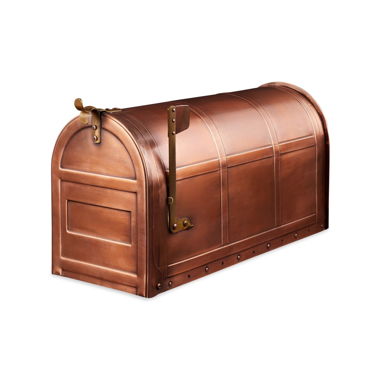 The Integrated Bands Of This Copper Post Mount Mailbox Give It A Subtle Decorative Touch The Large Holding Area In B Copper Mailbox Post Mount Mounted Mailbox