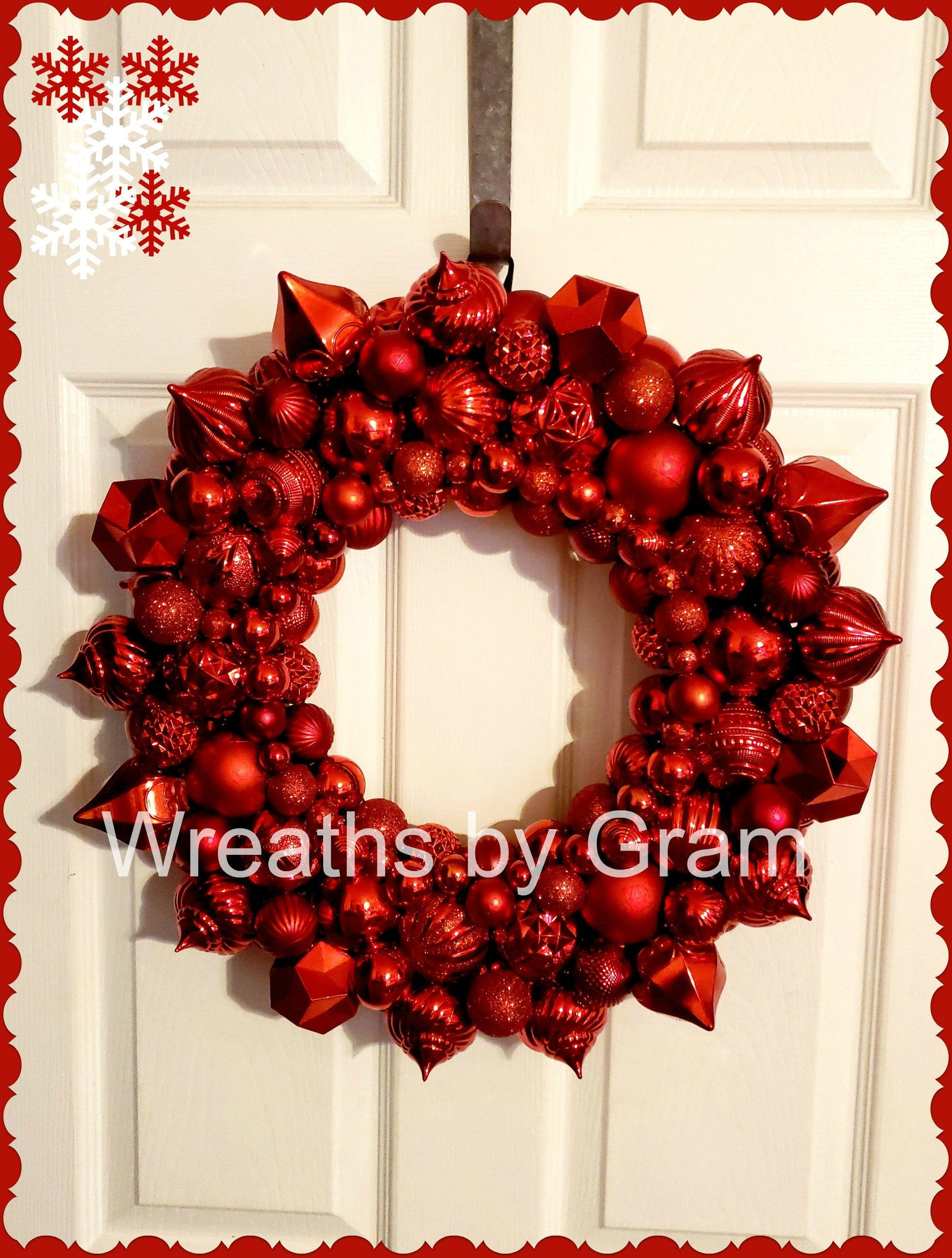 19 Red Ornament Wreath Christmas Wreath Red Ornaments Red Christmas Decor Christmas Wreaths