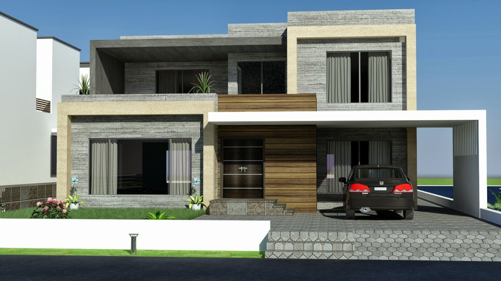 Front elevation modern house front single story rear 2 stories atrium and front yard Home building architecture