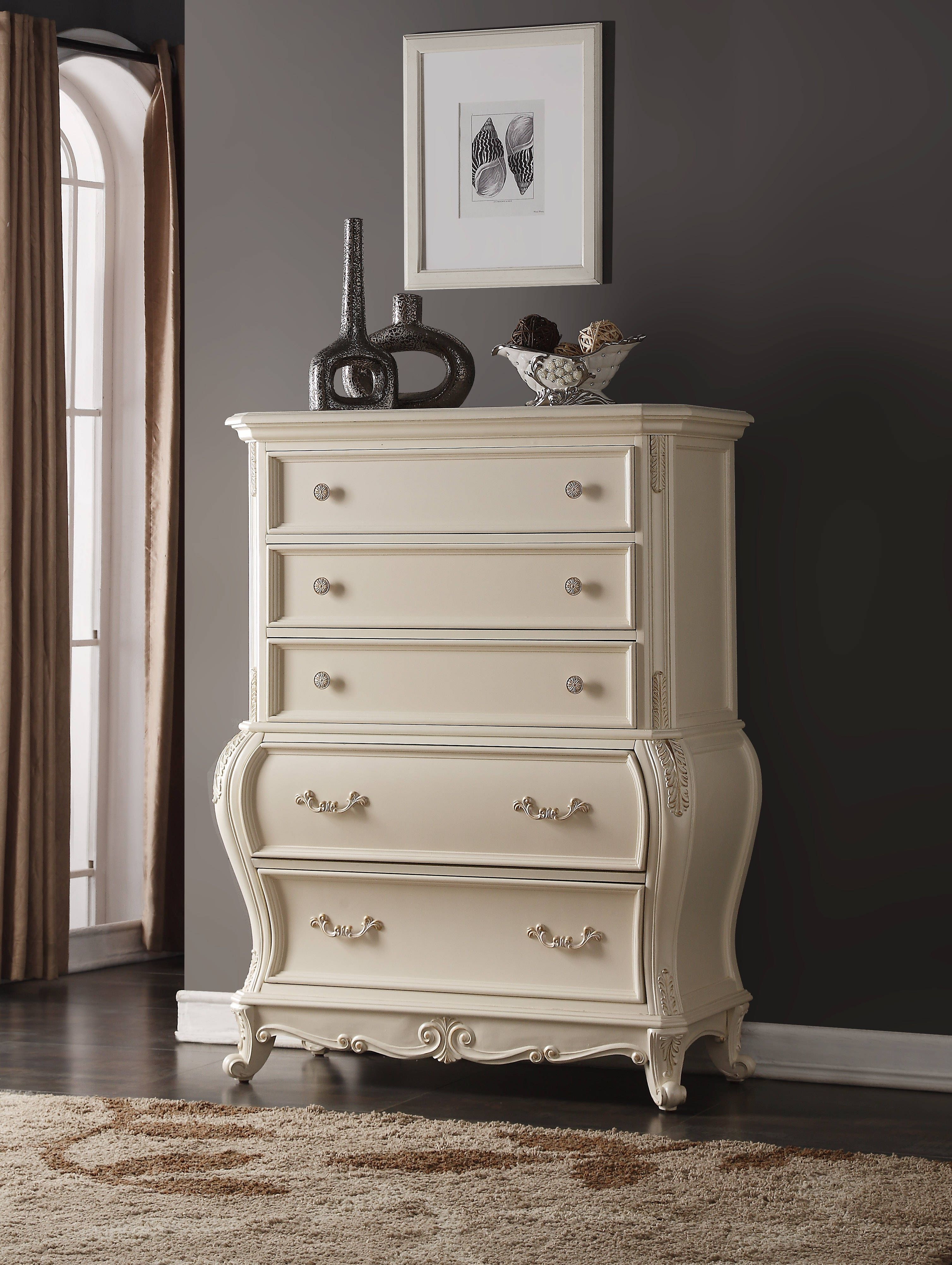 Marquee Traditional Pearl White Genuine Marble Top Chest