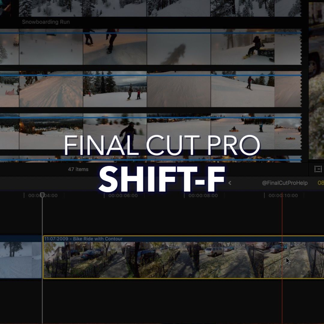 Shift-F | Reveal in Browser | Use this Final Cut Pro X