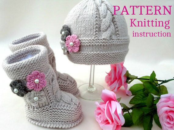 Knitting Pattern Baby Set Knitted Baby Hat Baby Shoes Infant Newborn