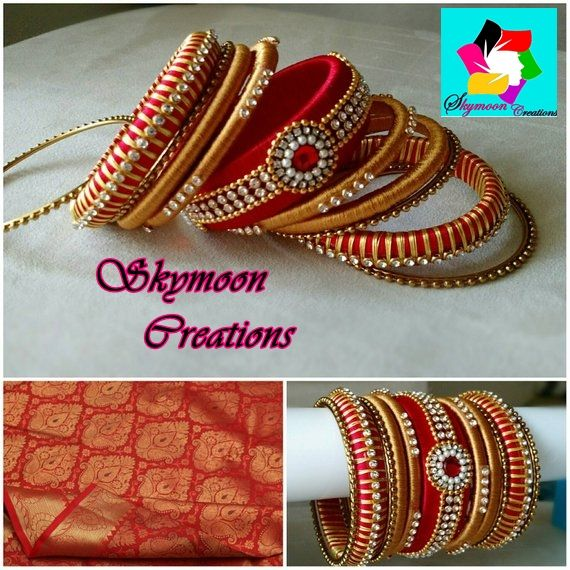 Red With Golden Color Ethic Indian Wedding Silk Thread Bangles Set Its Purely Handmade Products Whole Ers Are Also Welcome Available In All Sizes