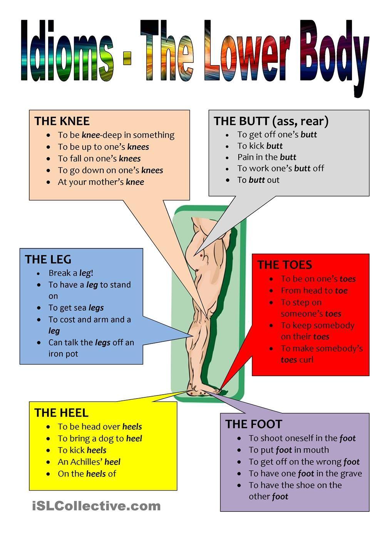 Idioms - The Lower Body | idiom | Pinterest