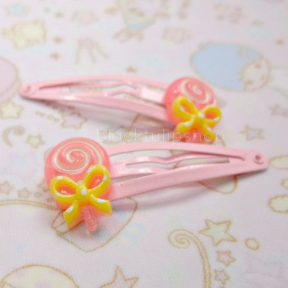 2pc Hair Clips Snap Barrettes Pink and White by blacktulipshop, $5.50