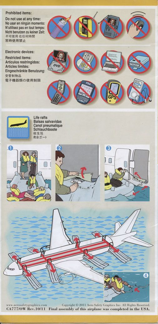 United Boeing 777 200 Safety Card Graphics