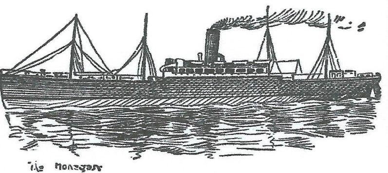 SS Mohegan-n bosquejo de la Mohegan (El Dundee Courier, lunes 17 octubre, 1898)