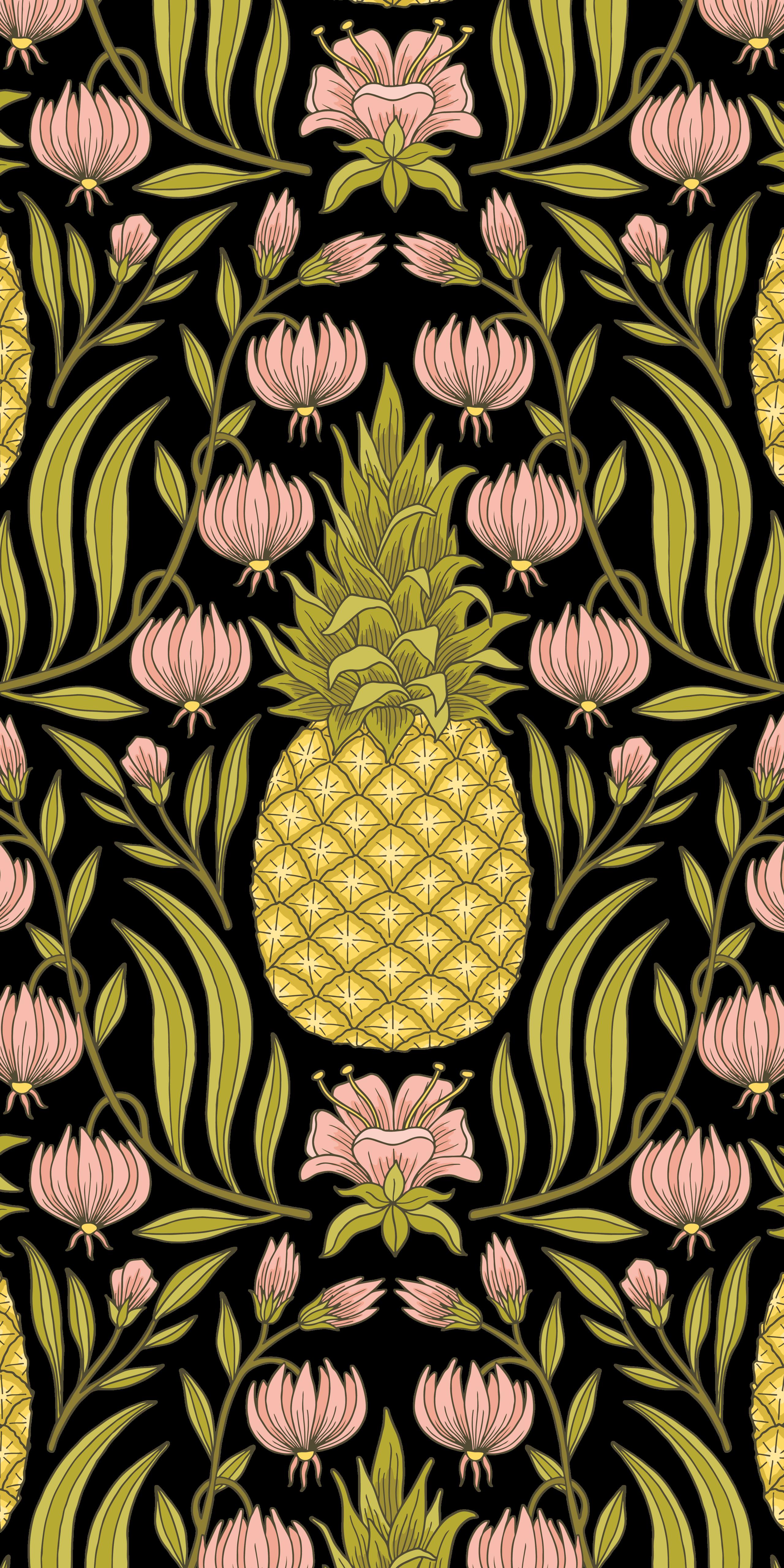 Floral Pineapple Casetify Iphone Art Design Drawing Fruit Flowers Flower Drawing Drawings Fruit Wallpaper