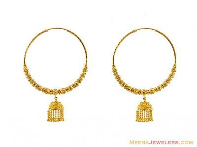 22k Gold Designer Jumbo Bali Hoop Earrings Repins Pinterest