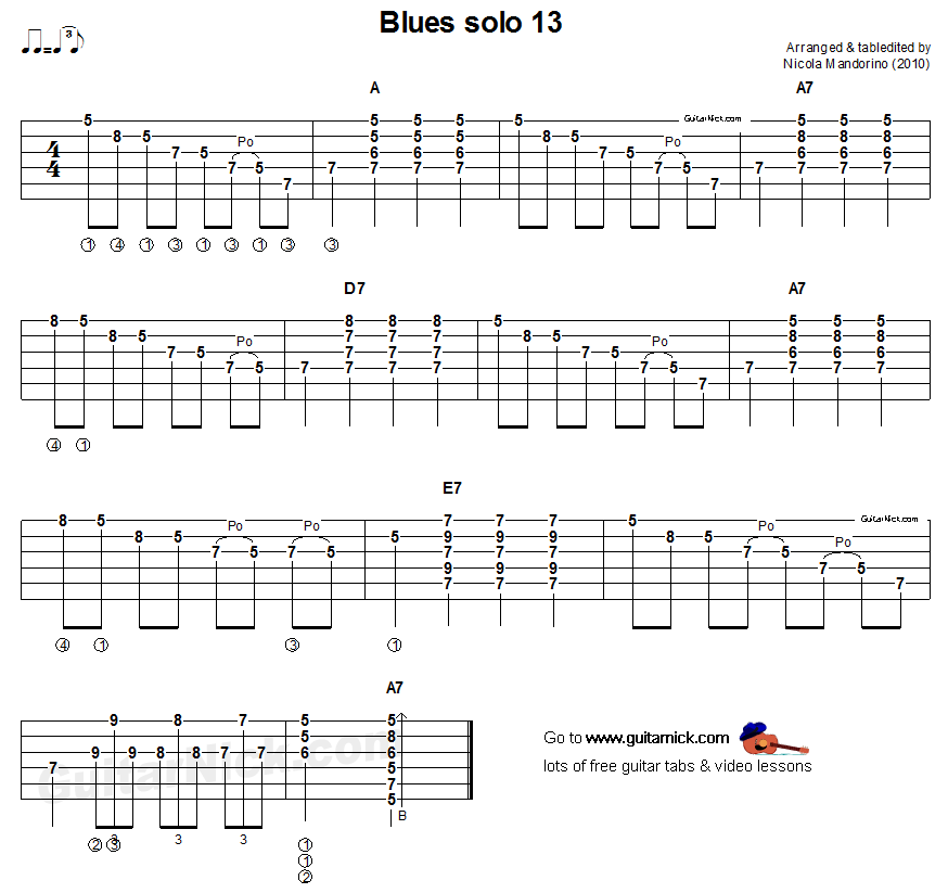 Acoustic Guitar Tab Blues Solo 13 Guitar Tabs Guitar Lessons For Beginners Blues Guitar Lessons