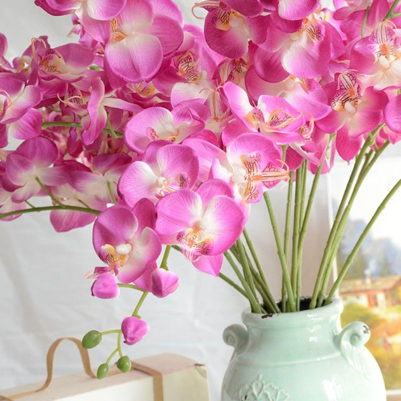 Artificial Butterfly Orchid Flower Plant Fuchsia Wedding Decorative Flowers Wreaths Home Decor Orchid Flower Plant Flower Decorations Orchid Flower