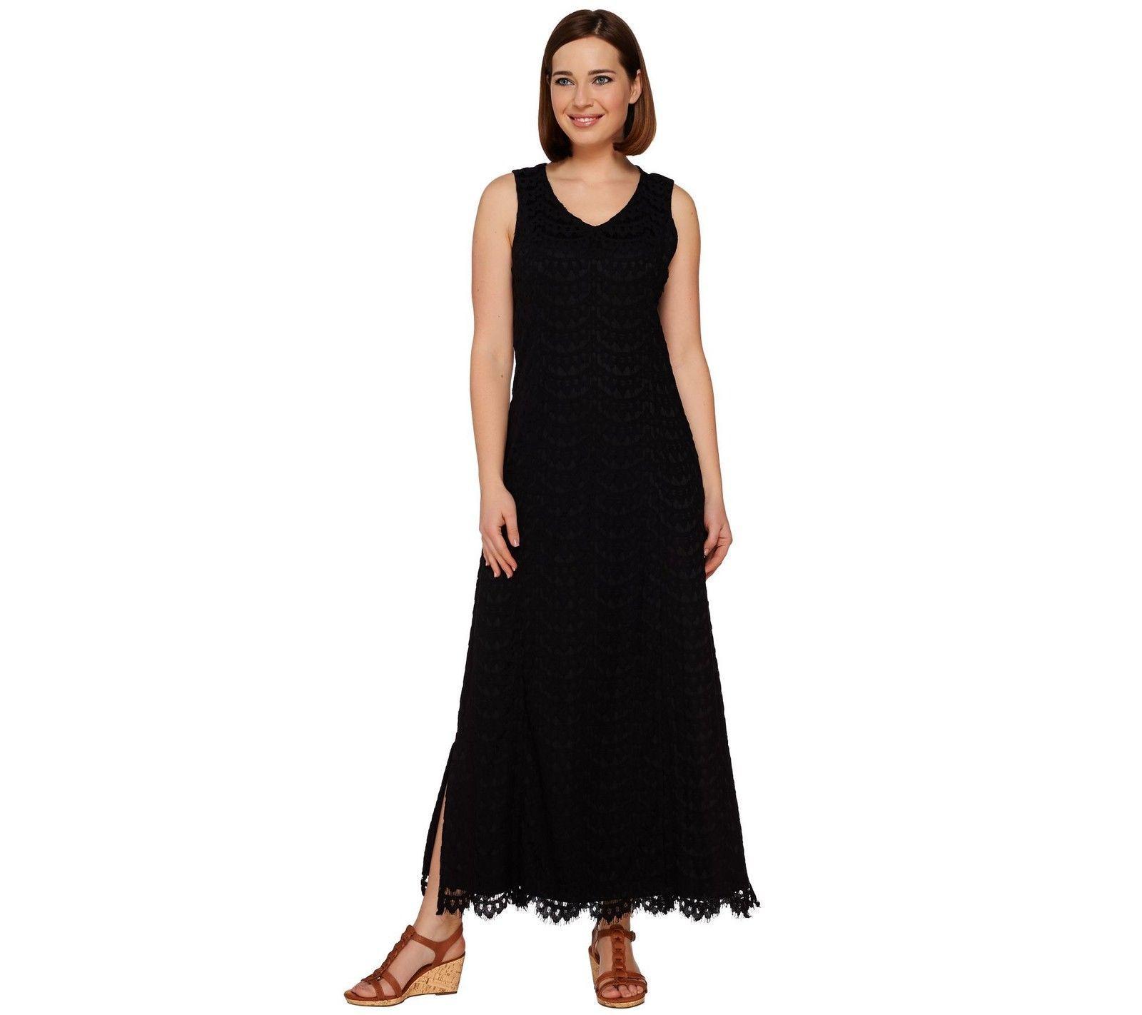 Isaac Mizrahi Gorgeous Petite Lace Maxi Dress Scallop Hem Black Pm New A277291 Lace Maxi Dress Scalloped Dress Dresses [ 1422 x 1600 Pixel ]
