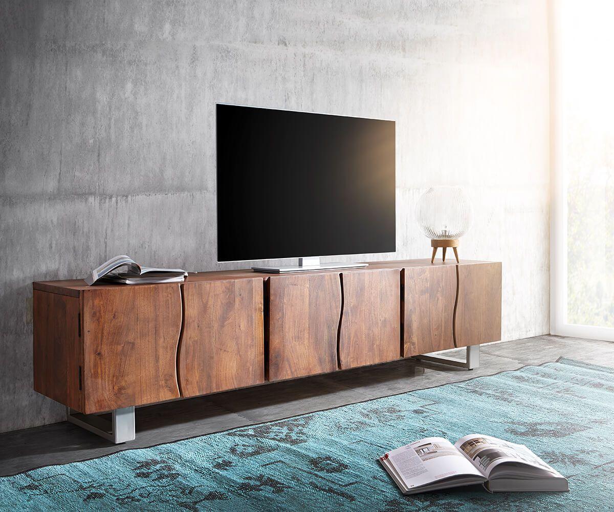 Tv Wandmeubel Bruin.Tv Meubel Live Edge 220 Cm Acacia Bruin Massief 6 Deuren In 2019