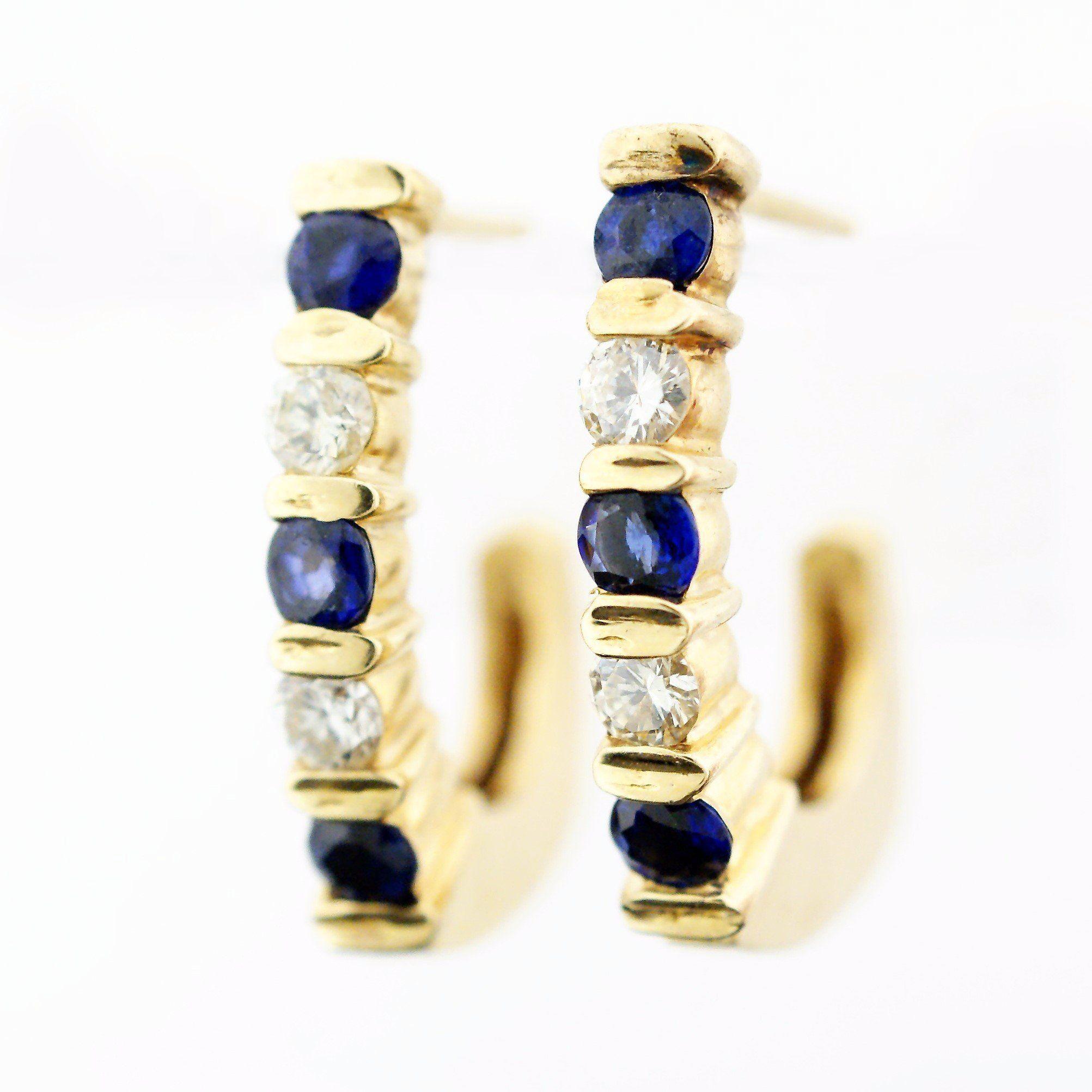 14k Sapphire and Diamond Earrings Popular Jewelry