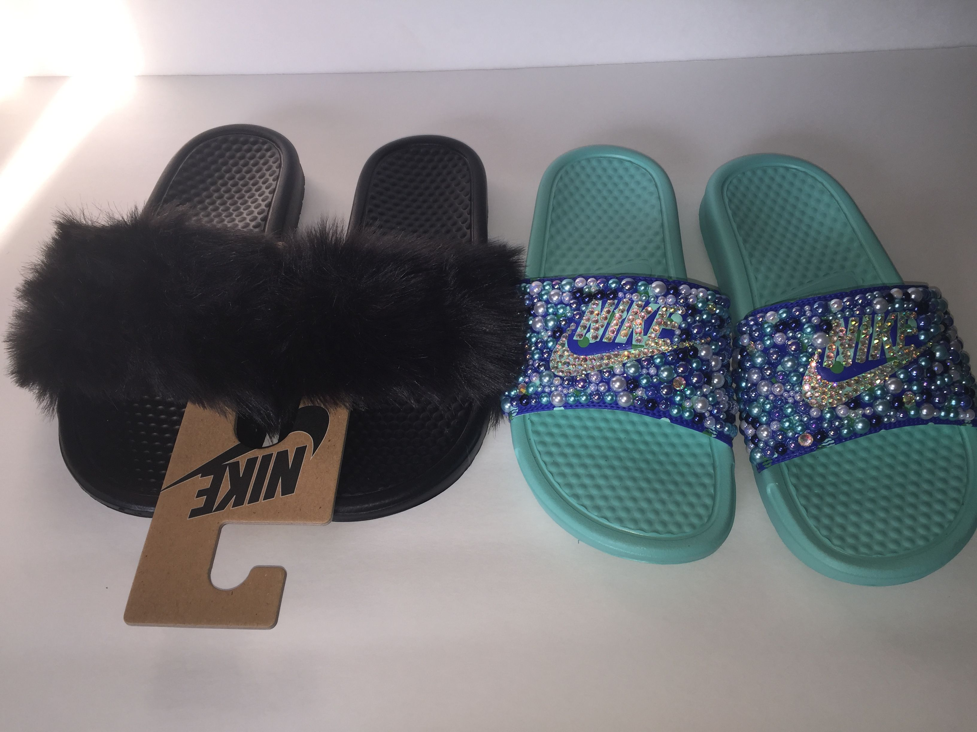 timeless design d54f7 3f855 Custom Bling Nike Flip Flop Slides Benassi Embellished with high quality  rhinestones and pearls   faux fur
