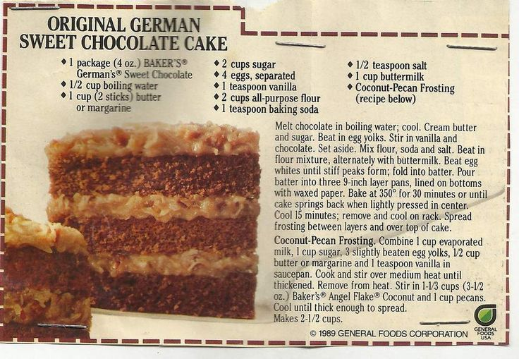 easy german chocolate cake icing - Bing images