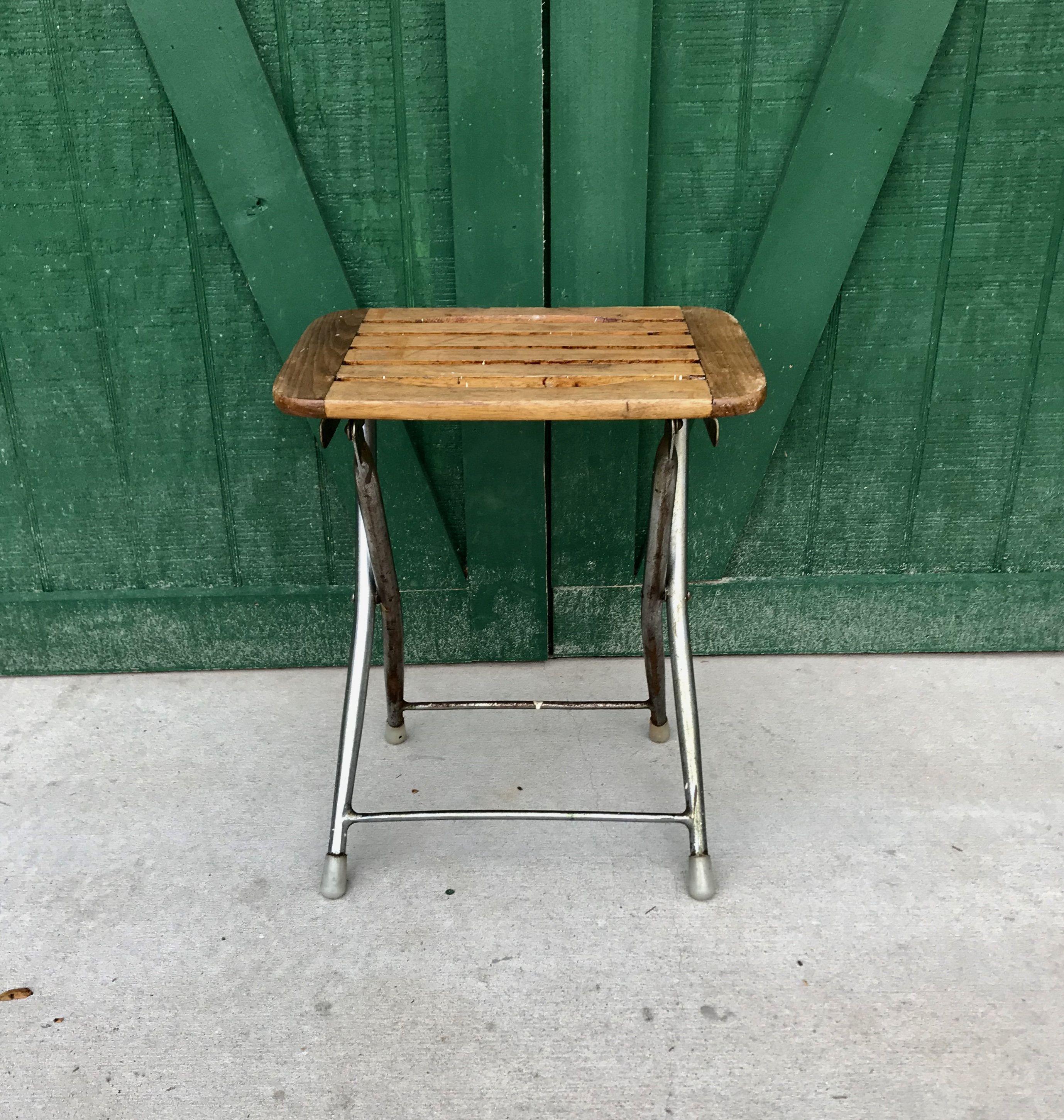 Vintage Folding Teak Seat,Camp Chair, Stool, Metal Base, Folding ...