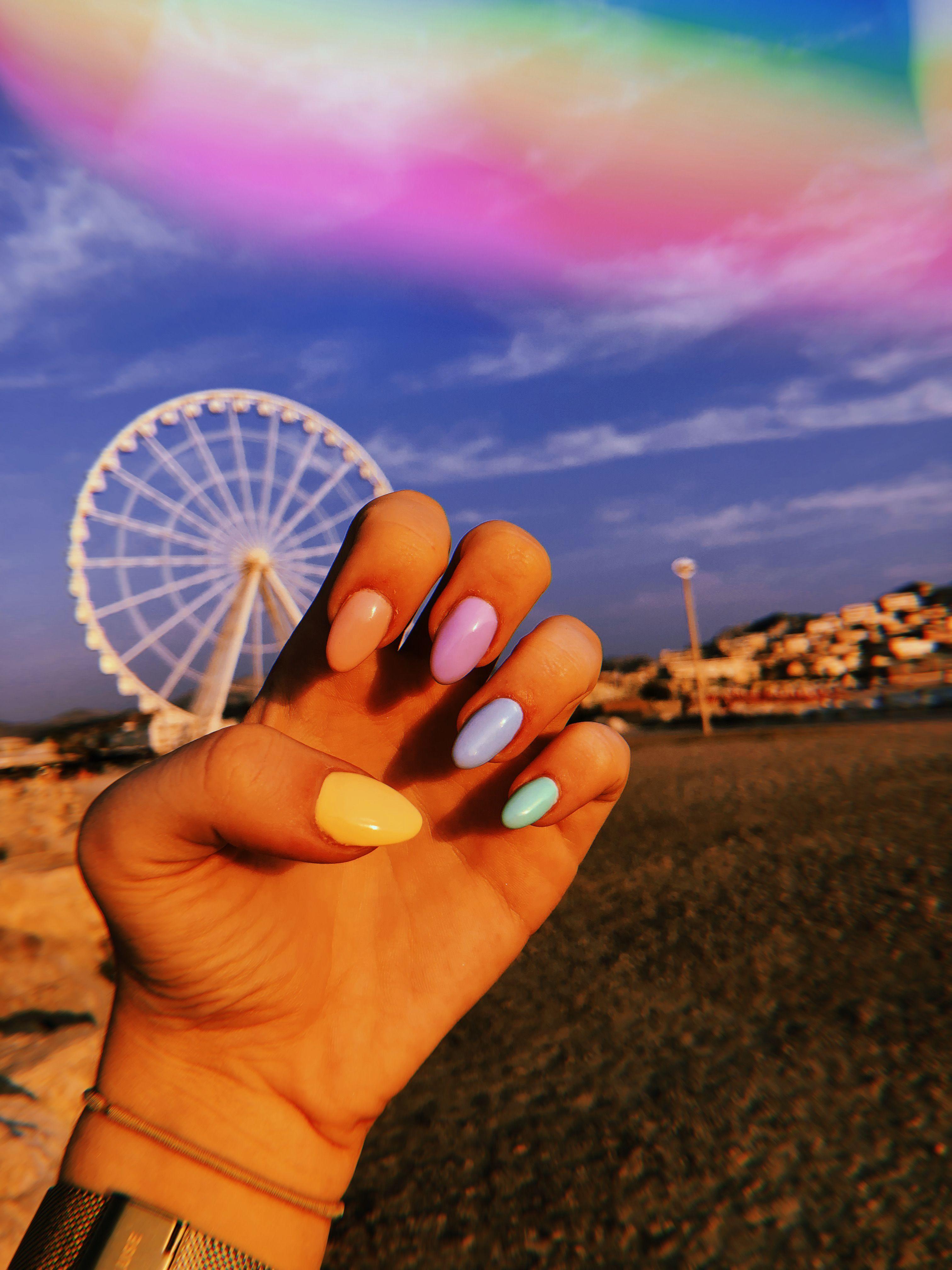 Pastel Rainbow Nails Vsco Girl Huji Summer Hand Beach Rainbow Nails Short Acrylic Nails Pastel Rainbow