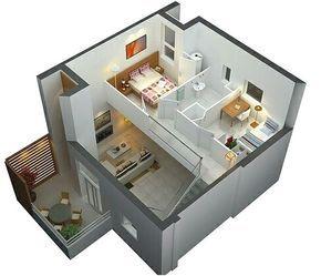 denah rumah sederhana 2 lantai 2 kamar tidur 3d | denah