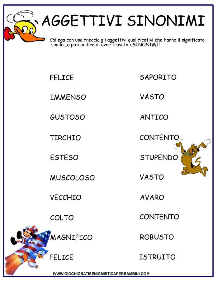 Super aggettivi_sinonimi schede didattiche | italiano | Pinterest  MQ71