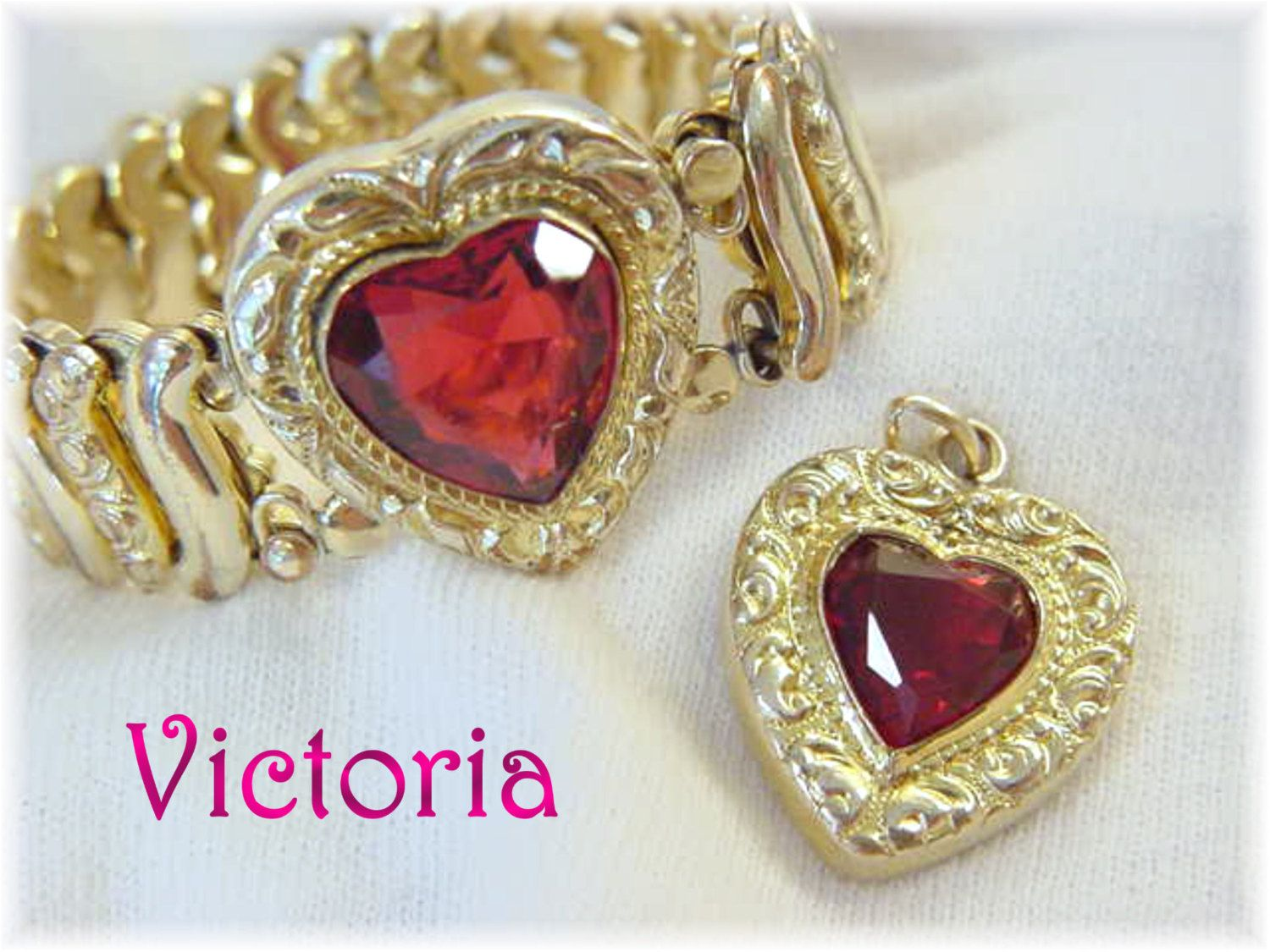 Victorian Sweetheart Ruby Red Crystal Heart Expansion Promise Bracelet & Pendant Set - Gold Filled Repousse Stretch - Estate - FREE SHIPPING