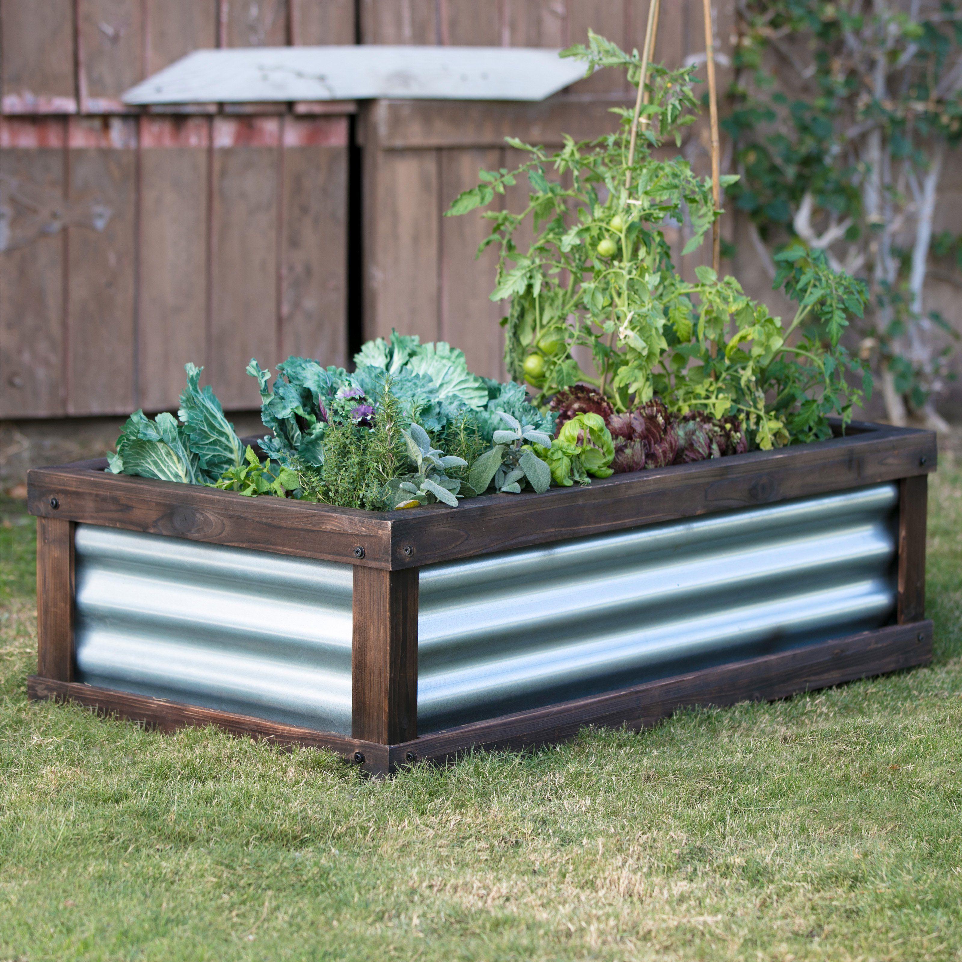 Coral Coast Guthrie Corrugated Metal & Wood Raised Garden